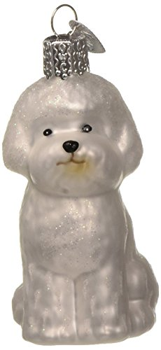 Old World Christmas Ornaments: Bichon Frise Glass Blown Ornaments for Christmas Tree