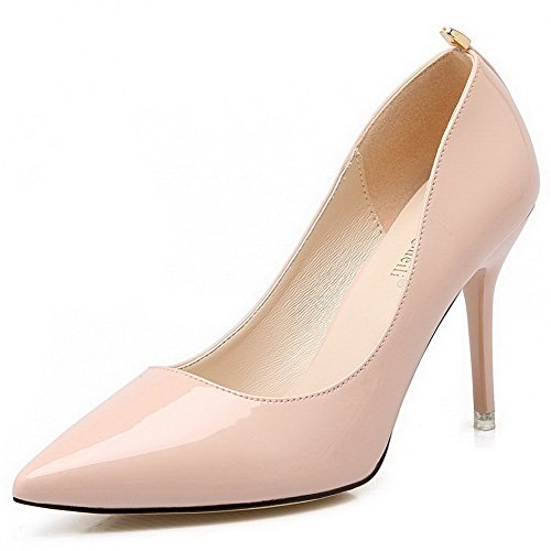 AalarDom Mujer Material Suave Sin cordones Puntiagudo Tacón de aguja De salón Rosa-Metal