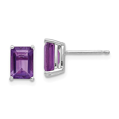 Best Birthday Gift 14k White Gold 7x5mm Emerald Cut Amethyst Earrings