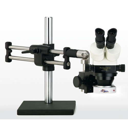 OC-White-TKSZ-F-Prolite-45-Binocular-Stereo-Zoom-Microscope-10x-Eyepieces-35x-45x-Magnification-07x-45x-Zoom-Objective-05x-Auxiliary-Objective-FL1000-Fluorescent-Ring-Illuminator-Ball-Bearing-Base-120