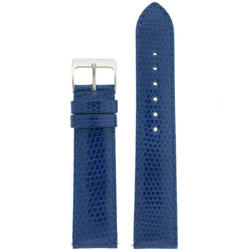 Watchband Genuine Lizard royal Blue 22mm -