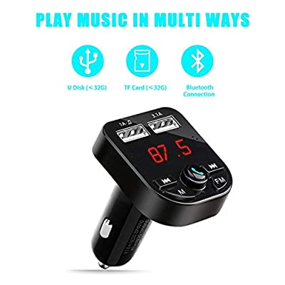 Huifen Car Bluetooth FM Transmitter, In-Car Wireless Charger Adapter Radio Receiver MP3 Music Stereo Player Car Kit with Dual USB Car Charging Ports, Hands Free Calling, Support TF Card/U-Disk (Black): MP3 Players & Accessori