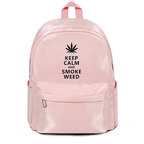 Keep Calm and Smoke Weed College Bookbag Fashion Nylon Durable 13 Inch Laptop Compartment Backpack Bag for Men Women and Kids (Smoke Weed Backpack)