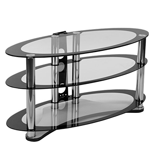 Flash Furniture Westchester Two-Tone Glass TV Stand with Shelves and Chrome Tubing