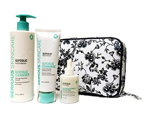 Serious Skincare Glycolic 3 Piece Retexturizing Kit Glycolic Extreme Facial Peel, Glycolic Gommage & 12 oz. Glycolic Cleanser with White Stargazer Toile Print Cosmetic Case