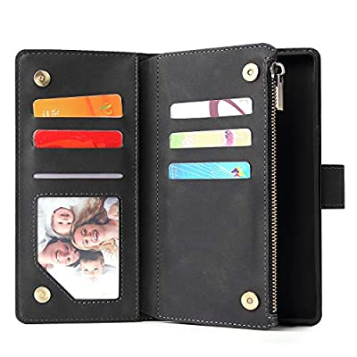 Jorisa Wallet Case Compatible with Samsung Galaxy Note 9, Retro PU Leather Zipper Magnetic Flip Phone Case with Card Slots Wrist Strap Folio Book Style Purse Stand Protective Cover, Black: Kitchen & Dining