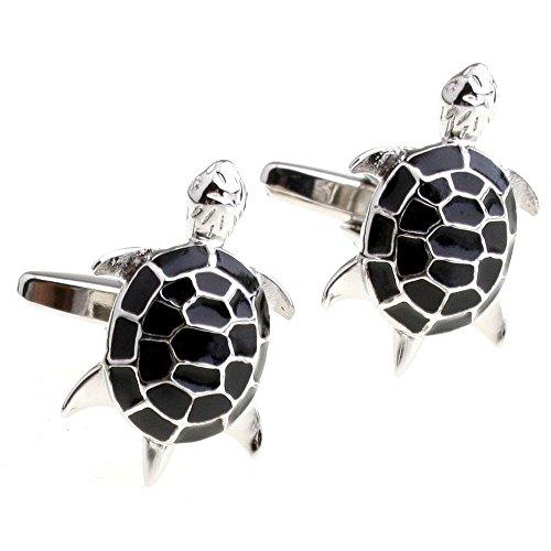 Cute Little Turtle Shaped Men's Wedding Business Cufflinks Metal One Pair Black