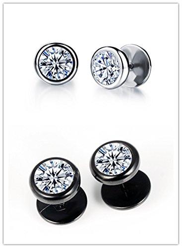 Unisex Plugs Piercings Stainless Steel Round Arrow Cubic Zirconia Illusion Tunnel Earrings Screw Back