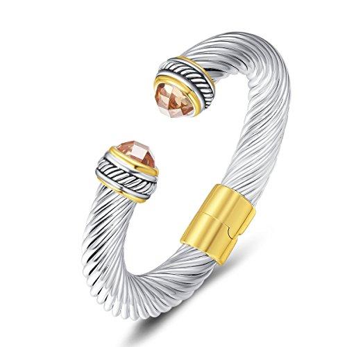 UNY Cuff Antique Twisted Wire CZ Women Vintage Trendy Fashion Designer Inspired Unique Bracelets Bangles (Champagne CZ)