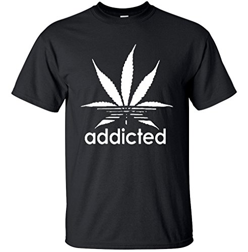 Adult-Addicted-White-Leaf-T-Shirt-420-Weed-Day-T-Shirt
