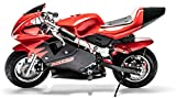 Rosso Motors Motorcycle Kids Mini Pocket Bike Ride On with 1000W 36V Battery Electric Power Lights in Red Black for Kids