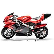 Rosso Motors Motorcycle Kids Mini Pocket Bike Ride On with 1000W 36V Battery Electric Power Lights in Red Black for Kids, 3-Speed Control for Child Safety