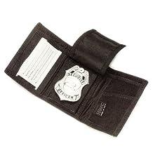 Police Nylon Tri-Fold Badge Shield Id Identification Case Holder Wallet