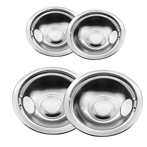 Bestong 4-pack Gas Stove Burner Covers Stainless Steel Reflector Bowls Stove Drip Pans for Frigidaire Kenmore 5304430149, 5304430150