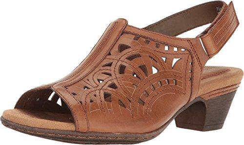 Rockport Cobb Hill Collection Women's Cobb Hill Abbott Hi Vamp Sling Tan Leather Sandal (Sandal Hi Heel)