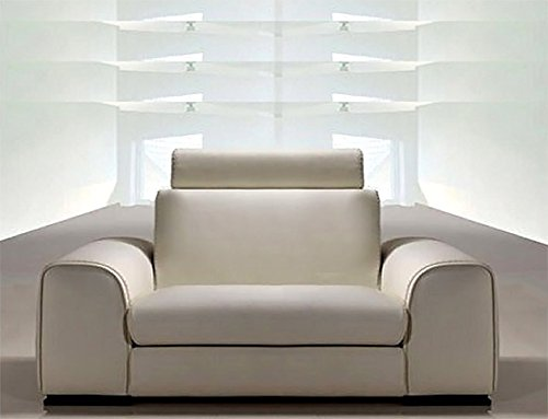 Calia Maddalena–Sofa Design Leder Feeling, Leder Buffalo Poltrona 135 cm Con 1 Poggiatesta Pelle Buffalo Verde