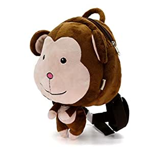Cartoon Cute Animal Plush Toddler Backpack Children Mini Schoolbag for Kids Age 1-5 Years, Blown Monkey (Brown) - C-US-BAG212-HZ