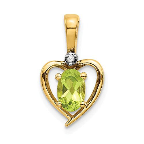 ICE CARATS 14k Yellow Gold Diamond Green Peridot Pendant Charm Necklace Gemstone Birthstone August Set Style Fine Jewelry Ideal Mothers Day Gifts For Mom Women Gift Set From Heart