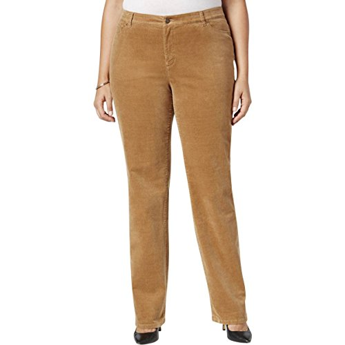 Charter Club Womens Plus Lexington Tummy Slimming Corduroy Pants Tan 16W (Tan Pants Corduroy)