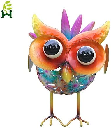 EH-GARDEN Solar Metal Owl Seven Color Changing Lights, Outdoor Solar Powered LED Garden Light, Road Decoration
