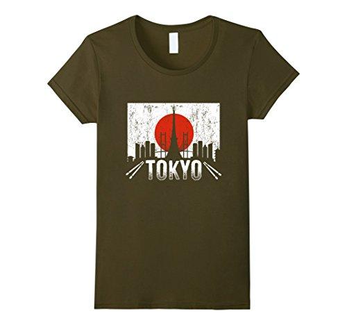 Womens Love Tokyo Japan Skyline Sushi Travel Vacation T-Shirt Medium Olive