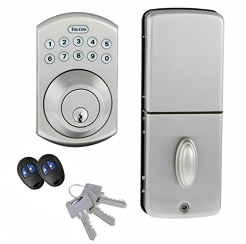 toledo electronic door lock deadbolt remote and keypad convenient keyless entry for quicker. Black Bedroom Furniture Sets. Home Design Ideas