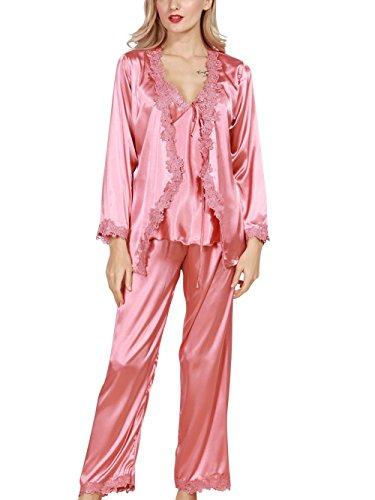 4Ping Womens Satin Luxurious Lightweight Paisley Long Sleeve Pyjamas with Belt Three Piece Set Tank Top Pink (Paisley Silk Belt)