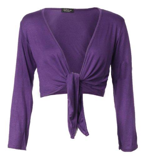 Fast Fashion Mujer con mangas largas cerrojo frontal lateral viscosa jersey Bolero axilas zucken morado