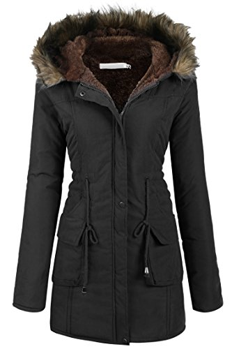 Womens Military Hooded Warm Winter Faux Fur Lined Parkas Anroaks Long Coats, X-Large, Style 2: Black 1 (Jacket Coat Womens Style)