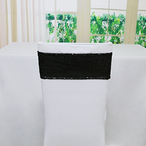 Custom Chair Sashes - TRLYC 30 Pieces Spandex Chair Sequined Sashes 6 by 14Inch- Black