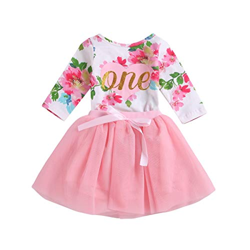 - Baby Girl Clothes 1st Birthday Outfit Tutu Dress Floral Romper Top Lace Skirt Set 2Pcs (Floral, 12-24Months)
