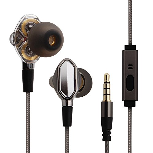 Hifi Stereo In-Ear Earbuds, Yigenet Dual Dynamic Drivers Wired Headphones Noise Cancelling Earphones with Mic for Smartphone/Computer - Silver Grey