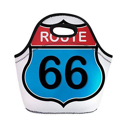 Semtomn Lunch Tote Bag Highway Route 66 Sign Interstate Road Car Freeway Classic Reusable Neoprene Insulated Thermal Outdoor Picnic Lunchbox for Men Women
