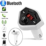 Glumes Bluetooth FM Transmitter for Car|Wireless Radio Transmitter Adapter|Mp3 Player with Hands Free Calls|Quick Charge|Dual USB|Car Charger|for Samsung/iPhone|Good Gift (♦ Silver)