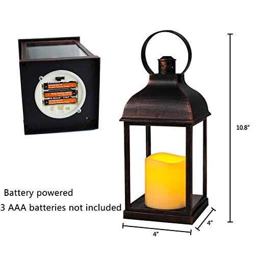WRalwaysLX Decorative Lanterns with Flameless Candles with timer Indoor/Outdoor Lantern with hanging use 3AAA battery (Christmas Circular Tree Branch)