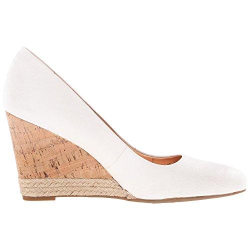 Vocosi Mujeres Cp-062 Wedges Heels, Slip On Dress Bombas De Punta Redonda Para Mujer Blanco (062-mate)
