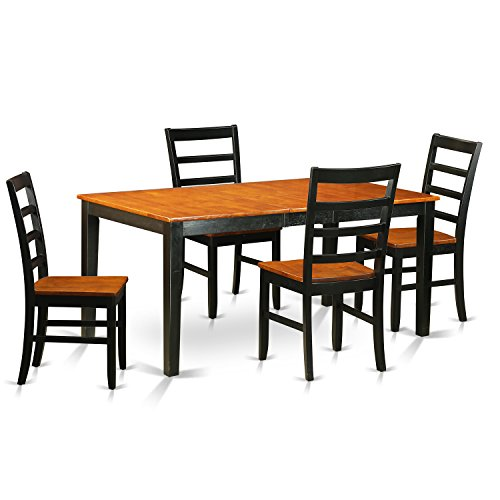 East West Furniture NIPF5-BCH-W 5 Piece Table with Leaf and 4 Solid Wood Kitchen Chairs