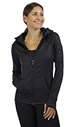 90 Degree By Reflex - Performance Activewear Fleece Hoodie Jacket - Black Stripe, Large
