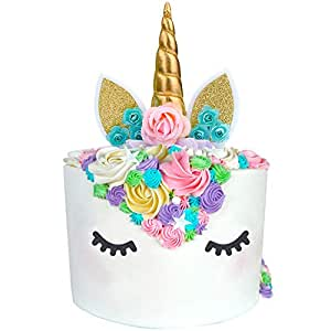 Unicorn Cake Topper Unicorn Party Supplies Unicorn Horn Ears Unicorn Party  Decoration with Flowers for Unicorn 9eb10f24ae98