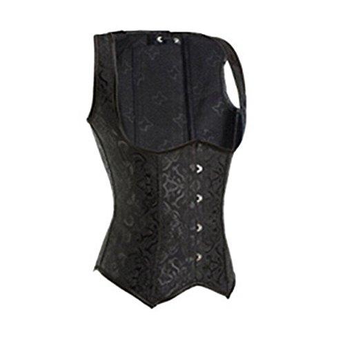 FeelinGirl deshuesada de acero de la mujer negro Jacquard cintura entrenador Cincher corsé S–�?x l negro