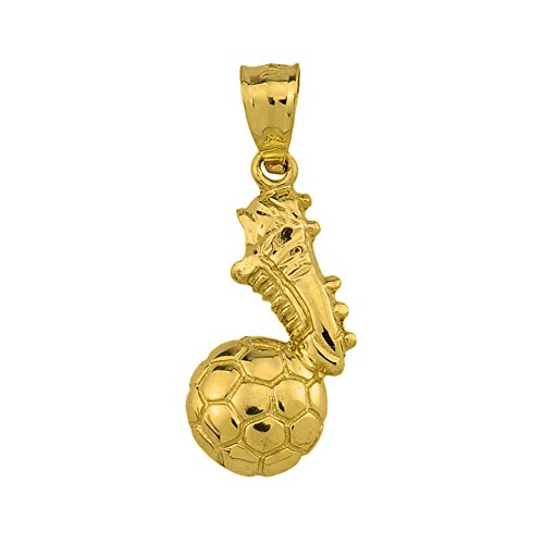 High Polished 14k Solid Yellow Gold Soccer Ball With Shoe Charm