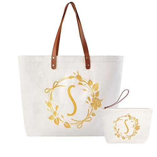 ElegantPark S Initial Monogram Personalized Party Gift Shoulder Tote and Travel Makeup Cosmetic Bag Zipper Canvas 2 Pcs -