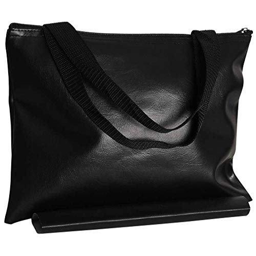 Black Leatherette Chess - Chess Board Carrier Bag with Storage Slot for Tournament Board, Black Leatherette Waterproof Vinyl - 12 in.