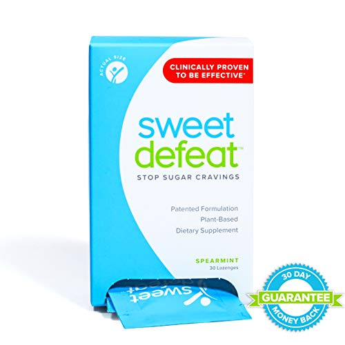 Sweet Defeat - Stop Sugar Cravings in Seconds - Sugar Blocker & Craving Suppressant Lozenges with Gymnema Extract - Curb Snacking & Binge Eating - Suppress & Control Appetite for Desserts, 30 Count