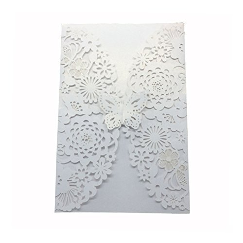 Autumn Wedding Invitation Wording (ROSENICE 10pcs Wedding Party Invitations Cards with Laser Cut Butterfly Flower (White))
