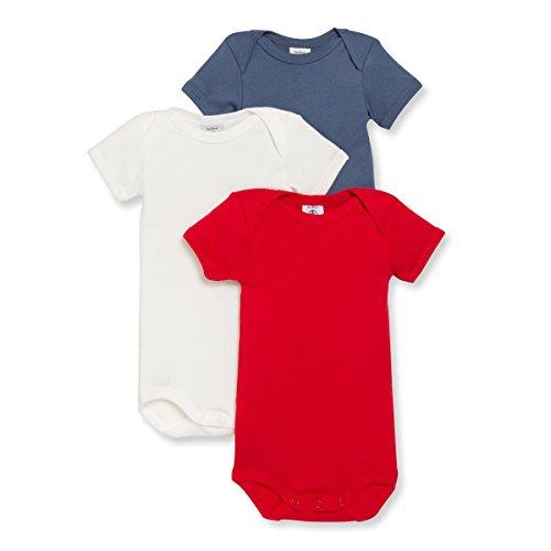 Petit Bateau Long Sleeve Bodysuit - Petit Bateau Baby Boys' 3 Pack Bodysuits - Navy/White/Red - 12 Months