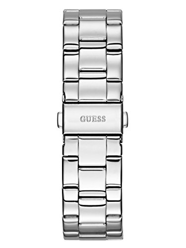 GUESS Women's U0774L1 Sporty Silver-Tone Watch with Pink Dial , Crystal-Accented Bezel and Stainless Steel Pilot Buckle
