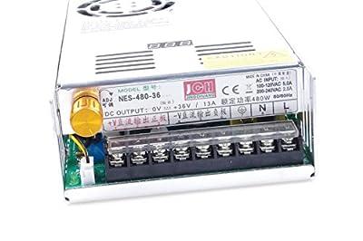 Adjustable DC Power Voltage Converter AC 110V-220V to DC 0-48V Module 48V 10A Switching Power Supply Digital Display 480W Voltage Regulator Transformer Built in Cooling Fan
