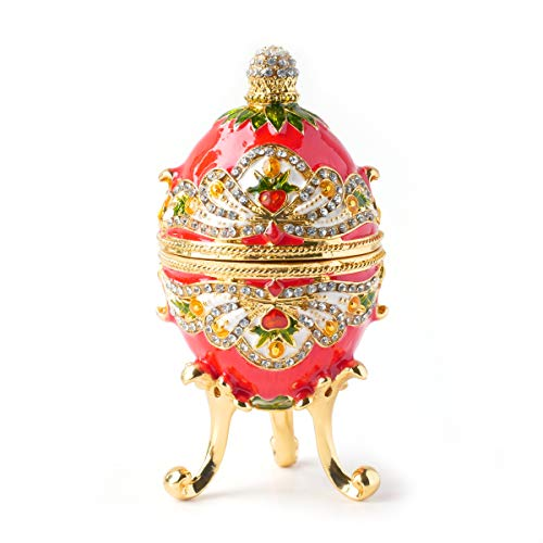 (Apropos Hand- Painted Classic Vintage Style Faberge Egg with Rich Enamel and Sparkling Rhinestones Jewelry Trinket Box (Royal)