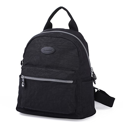 Lily & Drew Nylon Mini Casual Travel Daypack Backpack Purse (Small Black)